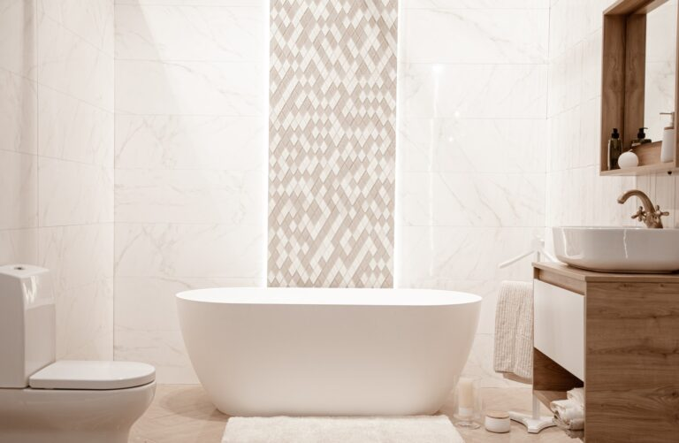 Modern and cozy bathroom interior with decorative elements